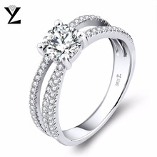 YL 925 Sterling Silver Topaz Set of Rings for Women Wedding Fine Jewelry with Natural Topaz Stone Engagement Ring(China)
