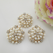 (BT217 28mm)5pcs flower pearl rhinestone embellishments Clear Glass Rhinestone Buttons