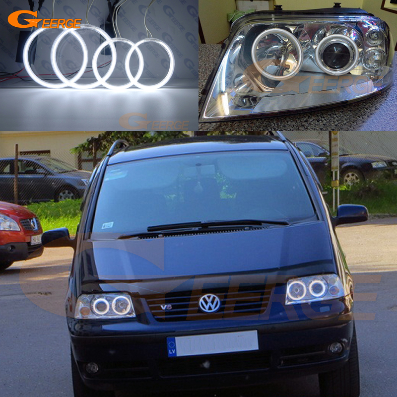 For Volkswagen VW Sharan 2000-2010 Xenon headlight Excellent Angel Eyes Ultra bright illumination CCFL Angel Eyes kit Halo Ring<br>