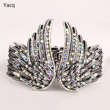 YACQ Angel Wings Feather Bracelet Women Biker Jewelry Antique Gold Silver Color Gifts Her W Crystal Wholesale Dropshipping D01(China)
