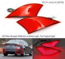 Red Lens LED Rear Bumper Reflector Brake Stop Light Rear Fog Reverse Tail Lamp for Lexus IS250 IS300 IS350 XE30 2014 2015 13 16