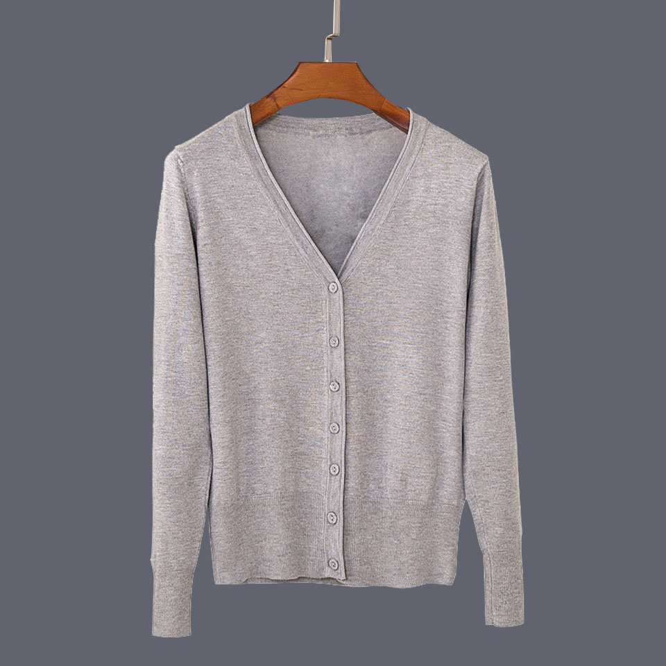 17 New Top Selling Spring Woman Sweater Tops Fashion Knitted Long Sleeve V-Neck Solid Loose Size Casual Woman Cardigan Sweater 36