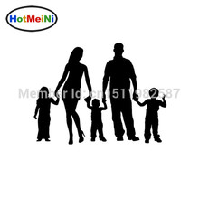 HotMeiNi 17x14cm Stick Figure Family Car Stickers Truck Window Vinyl Decals For Auto SUV Funny JDM Laptop Mac Black/Sliver(China)