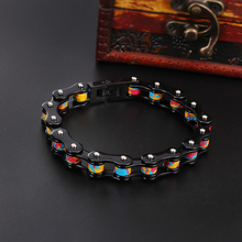 Black colorful 10mm 8.8 inches Women Men's bicycle Motorcycle chain Stainless steel Fashion Bracelet Jewelry Bling 2017 Best Gif