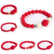 Best Wishes Good Luck Brave troops Lotus Flower Buddha Beads Elephant Charm Pendant Cinnabar Red Bracelet Bangles Jewelry