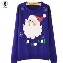 2017 New christmas pullover hot navy blue cotton autumn winter sweater  santa claus pattern sweater O-Neck long sleeve pullovers