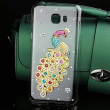 Colorful Peacon Birds Case for Samsung Galaxy C9 Pro Bling Tower Bear Rhinestone PC Hard Cover for Samsung C9 Pro Case Accessory