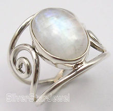 Silver Real OVAL RAINBOW MOONSTONE HANDCRAFTED Ring Any Size CHRISTMAS DAYDA(China)