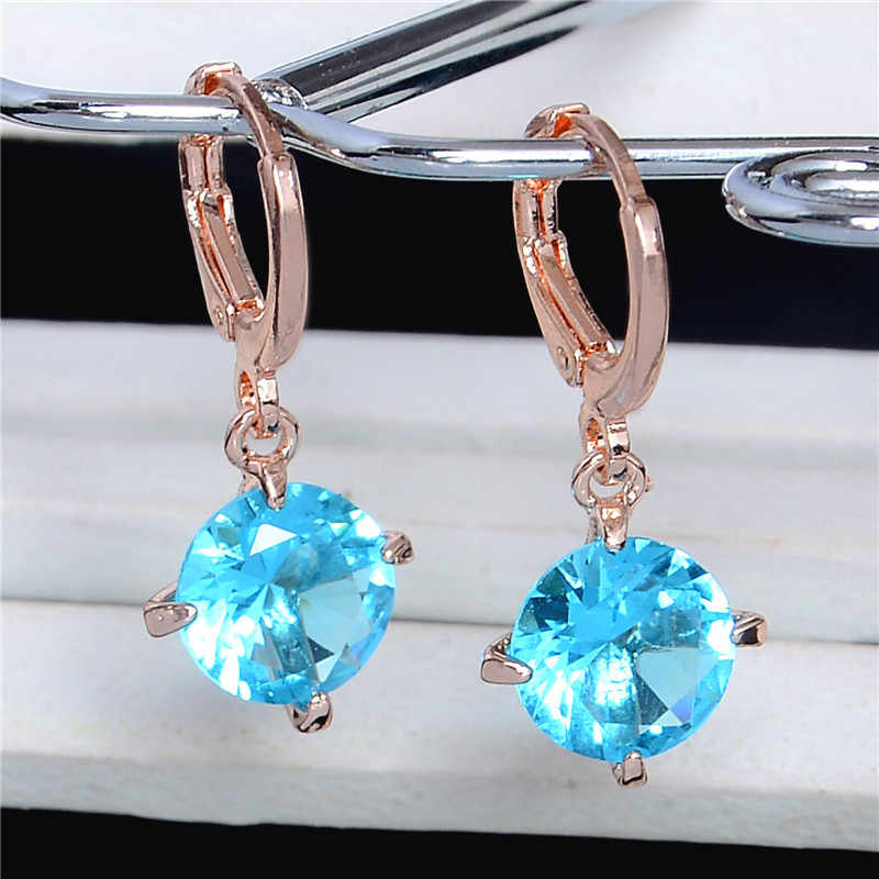 SHUANGR Sky Blue Crystal Rhinestone Drop Ear Hoop Jewelry Gold Color Cubic  Zirconia Drop Earring For 549df996ef3c