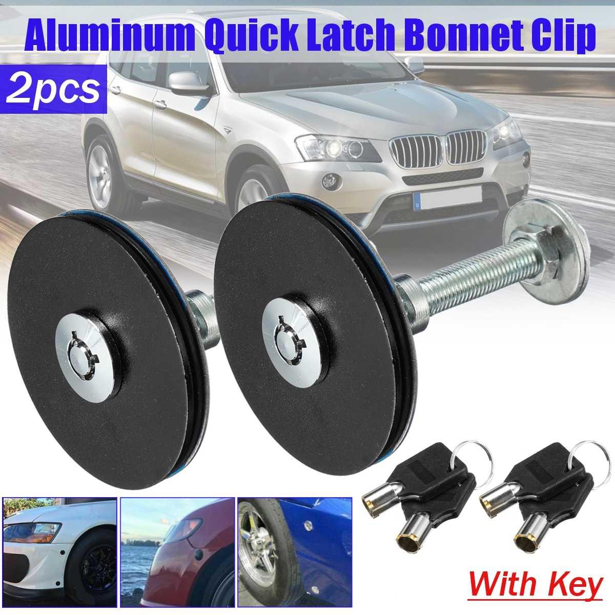 2X Universal Racing Car Bonnet Plus Flush Hood Latch Pin With Key Lock Clip Kit