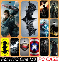 Cool Batman Superman Captain America Thor Black Widow Painted Cases For HTC One M8 Mobile Phone Case Cover Shell Free Shipping(China)