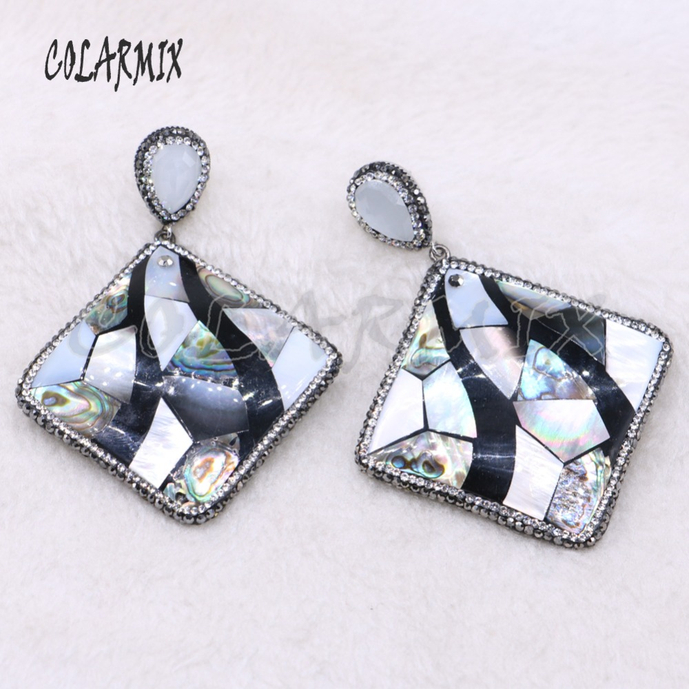 Big shell pendant abalone earrings Square shell earrings drop earrings Handmade jewelry gift for lady 3881