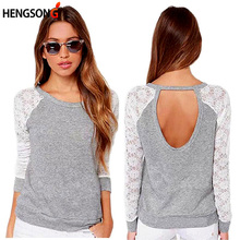 New 2017 T Shirt Women Fashion Brand Long Sleeve Sexy Lace Crochet T-Shirt Embroidery Slim Casual Tops DP861179