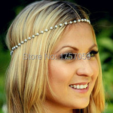 Fashion simple pearl head chains gold wedding tiaras for brides wholesale head jewelry