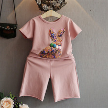 Fashion girls summer clothes set pink and white Sequin rabbit bunny suit shirt with pants tracksuit for kids & children