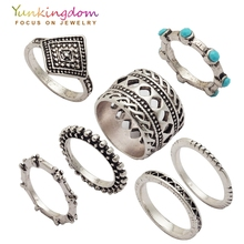 Yunkingdom Punk Vintage Ring Set Resin Ancient Antique  Silver Color Rings Young Girls Hip-hop jewelry