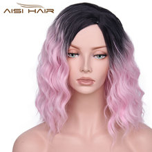 aisi hair,pink,ombre pink wig,red ombre wig,short synthetic wigs,short ombre wig,short synthetic wigs for black women,womens wigs,wave wig,water wave wig,synthetic wigs for women,synthetic wigs black women,synthetic wigs,pink hair wig,water wave wig(China)