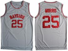 Cheap Basketball Jersey Sleeveless Throwback Zack Morris #25 Bayside Tigers Saved By The Bell Gray S-3XL