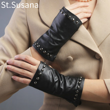 2017 women summer Fashion Five-finger half palm sexy pole dancing driving fingerless rivet backless leather hot gloves Mittens(China)