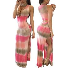 Tie Dye Sleeveless Cut Out Waist Sexy Dresses Fashion Women Formal Party Dresses Summer Vestido FemininoPlus Size Women Clothing