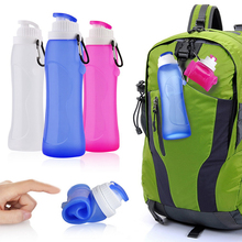 NEW 500ml Portable Foldable Water Bottle Kettle Outdoor Sport Camping Silicone Folding Gym Water Bottle Leakproof Latest