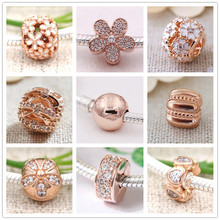Buy Spring collection flower charms rose gold 925 sterling silver clip bead fit Bracelet necklace DIY jewelry makng Jewyuer for $10.41 in AliExpress store