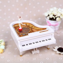 Mechanical Classical Ballerina Girl Dancing on the Piano Music Boxes Hand Crank Music Box To Alice caixa de musica(China)