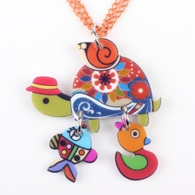 Bonsny Tortoise necklace pendant acrylic pattern 2016 news accessories spring summer cute animal girls woman fashion jewelry