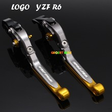 For Yamaha YZF R6 1999 2000 2001 2002 2003 2004 With Logo(YZF R6) gold+Titanium New CNC Adjustable Motorcycle Brake Clutch Lever