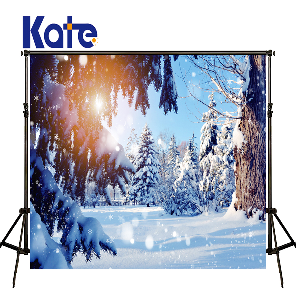 KATE Winter Snow Scenery Backdrops Photography Forest Sunset Photo Backgrounds Fotografia White Spot For Shoot Of Child<br>