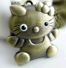 cartoon Vintage Bronze hello Kitty necklace quartz pocket watch pendant children gift 10 pcs/lot
