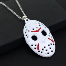 New Horror Movie Jewelry Jason Vorhees Friday the 13th Hockey Mask Pendant Chain Necklace White Color(China)