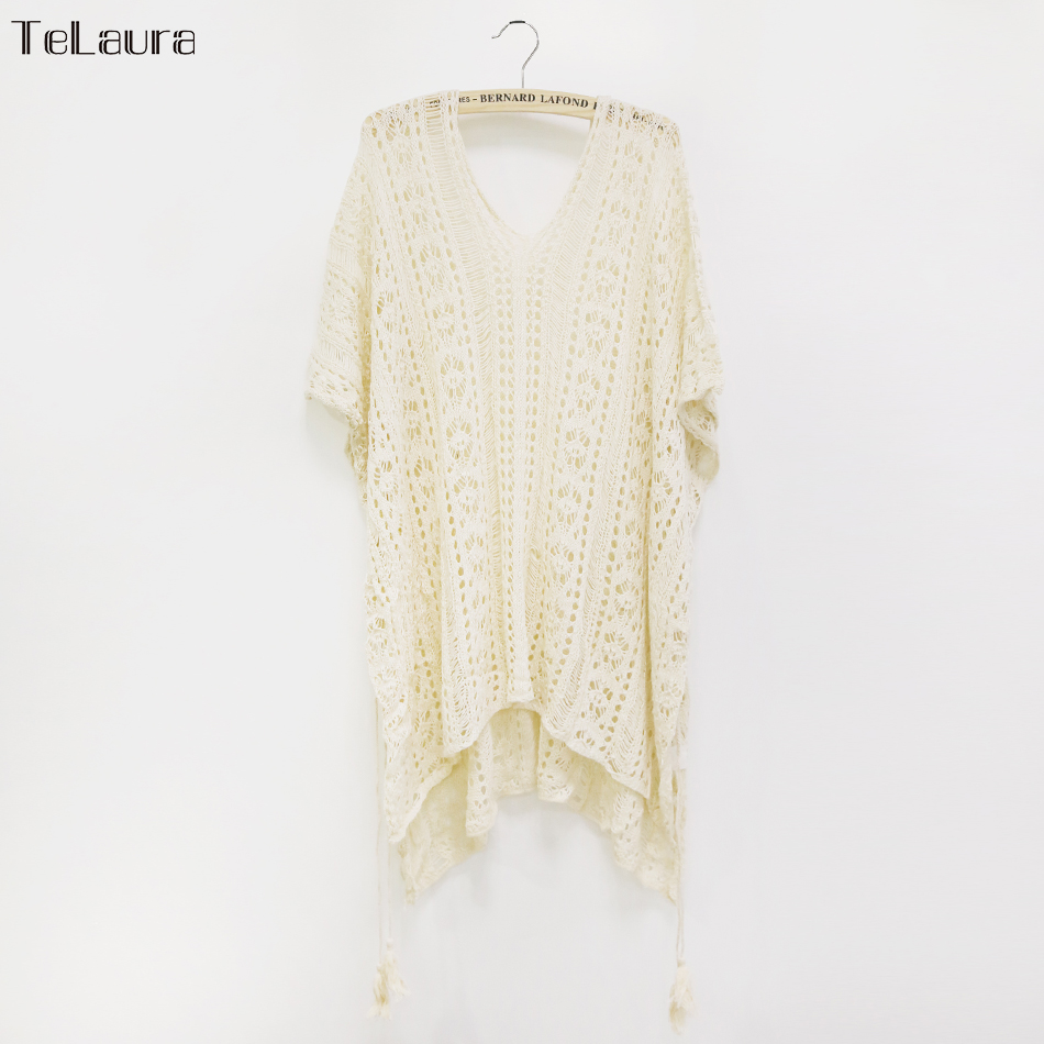 2018 New Beach Cover Up Bikini Crochet Knitted Tassel Tie Beachwear Summer Swimsuit Cover Up Sexy See-through Beach Dress 17