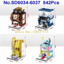 SD6034-6037 542pcs 4in1 Mini City Hot Pot Shop Leather Goods Store Perfume Shop Baby Store LED Building block Brick Toy
