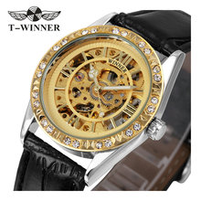 2017 Women Wrist Watches Top Brand Luxury Auto Mechanical Watches Crystal Decotated Relogio Feminino Skeleton Clock Lady Gift(China)