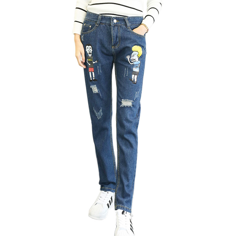 Cartoon Denim Jeans Winter High Waist Boyfriend Jeans Loose Casual Ripped Jean Torn Harem Pants For Women Trousers Plus Size 5XLОдежда и ак�е��уары<br><br><br>Aliexpress