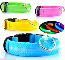 10PCS/LOT 2014# Wholesale Pet Collar LED Glow Necklace Dog Electric Lighted Up Cat Solid Dog Collar Night Safety LED Light-up(China)