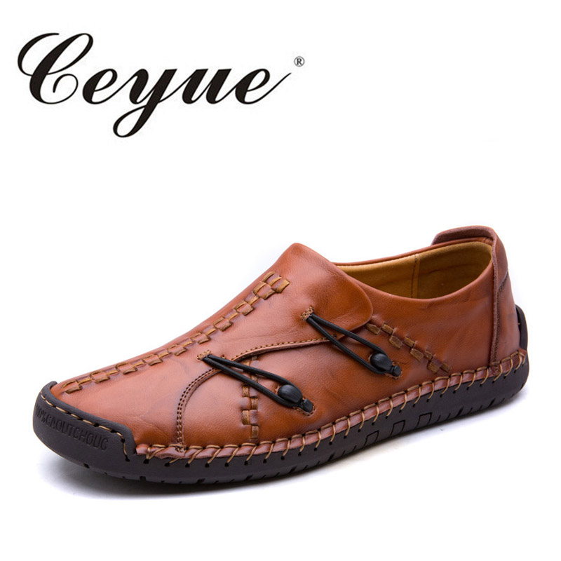 Ceyue Handmade Men Casual Shoes For Adult New 2017 Genuine Leather Boat Shoes Men Hot Designer Button Outdoor Walking Men Shoes<br>