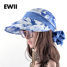 2017 Adjustable sun visor caps women summer wide brim hat ladies beach bucket hats for women floppy cap chapeu feminino(China)