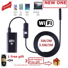 Zjuxin WiFi Endoscope 8mm Lens 1M 2M 3.5M 5M cable iphone endoscope camera IOS android with 6 led mini wifi endoscope(China)