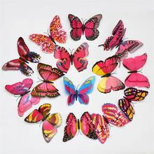 Double Wings 3D Butterfly Wall Sticker Home Decor DIY Wedding Decoration Wallpaper Party Chrismas Supplies Free Shipping ETH007