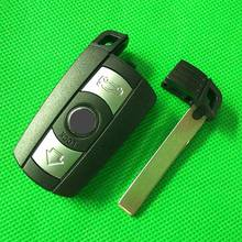 3 Button Remote Key Case for BMW 1 3 5 6 Series Smart Key Shell Blade Fob E90 E91 E92 E60 WITH LOGO