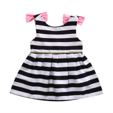 Hi Hi Baby Store Summer Toddler Baby Girl Bow Sleeveless Stripe Cotton Halter Dress 3M-5Y(China)