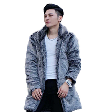 New 2017 Winter Men Long Faux Mink Fur Coats Male Casual Imitation Fur Thick Warm Outerwear Overcoats Plus Size 4XL 5XL W1109
