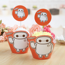 24pcs cute Red Baymax cupcake wrapper &toppers decoration Big Hero 6 baby birthday party (12 wrap+12 topper) Free Shipping