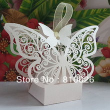 Free shipping 30pcs Laser cut White Butterfly Candy Boxes Wedding Favor Box wedding /party gift packing paper present packaging(China)