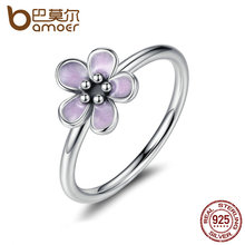 BAMOER Light Purple Elegant 925 Sterling Silver Finger Rings for Women High Quality Engagement Jewelry anelli PA7169(China)