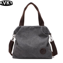 KVKY Women Versatile shoulder bags Leisure Pure color canvas Soft woman handbags Zipper messenger bag fashion big bag 2017