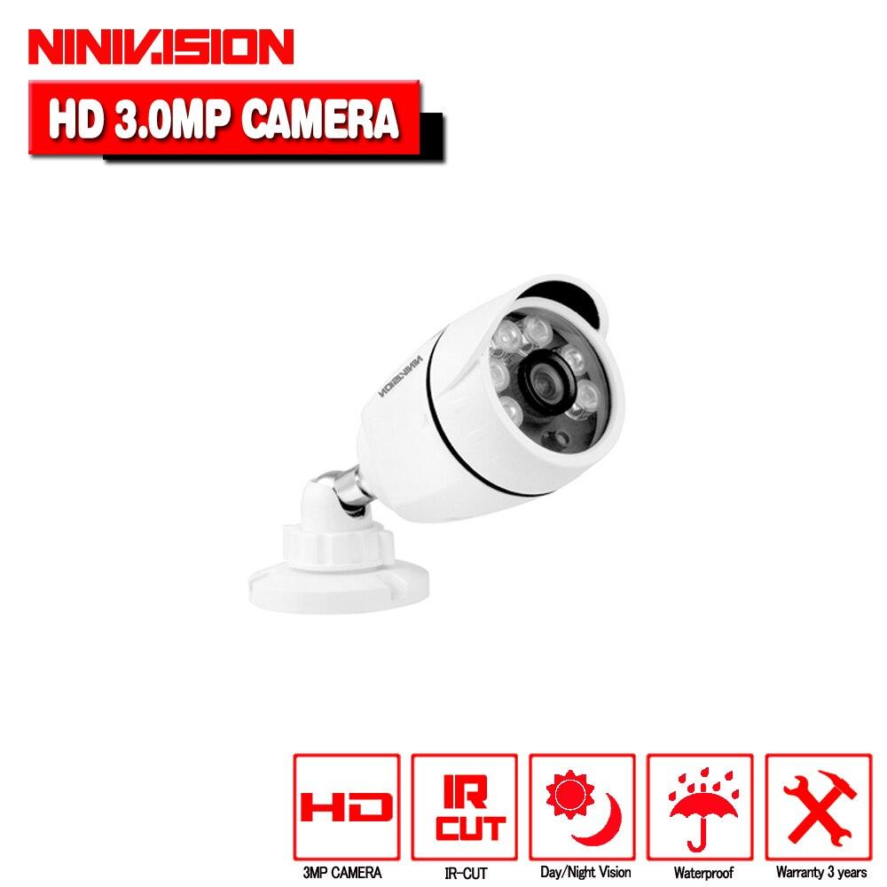 NINIVISION Super 3MP CCTV 1920p Array 6pcs Lens Varifocal HD AHD Camera IR-CUT Waterproof White Metal Bullet Video Surveillance<br>