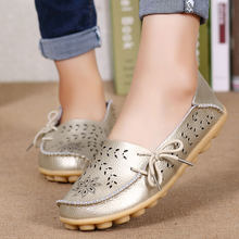 MWY Women Flats Shoes Genuine Leather Slip on Round Toe Muscle Sole Ladies  Casual Shoes Comfortable 5c780c19b1f9